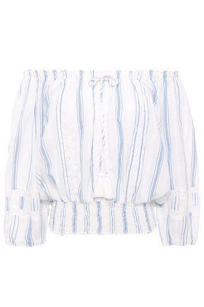 MELISSA ODABASH Azura off-the-shoulder striped cotton-gauze top