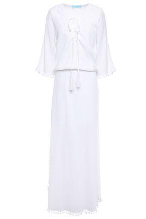 MELISSA ODABASH Kari embroidered crinkled cotton-gauze maxi dress