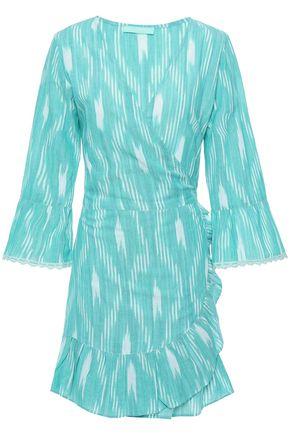 MELISSA ODABASH Freya ruffle-trimmed printed cotton mini wrap dress