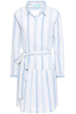 MELISSA ODABASH Amelia striped cotton-gauze mini shirt dress