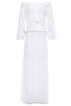 MELISSA ODABASH Sabina off-the-shoulder lace maxi dress