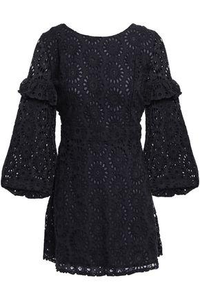 SUNDRESS Margherita tassel-trimmed broderie anglaise cotton mini dress
