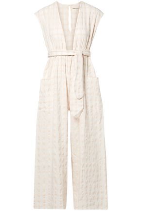 MARA HOFFMAN Whitney checked organic cotton-canvas jumpsuit