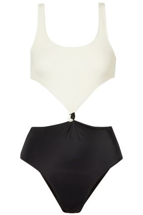 SOLID & STRIPED The Bailey cutout two-tone swimsuit