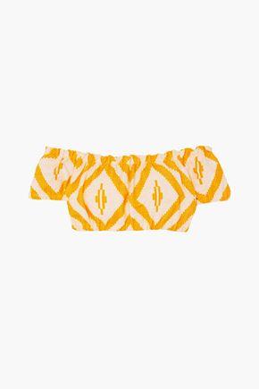 LEMLEM Biruhi off-the-shoulder cropped printed cotton-blend jacquard top