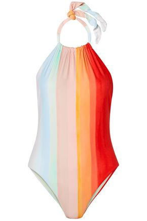 MARA HOFFMAN Dominique striped halterneck swimsuit