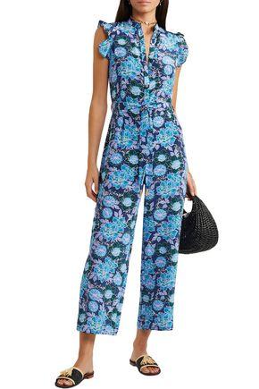 Paloma Blue Jagger Cropped Floral-print Silk Crepe De Chine Jumpsuit In Blue