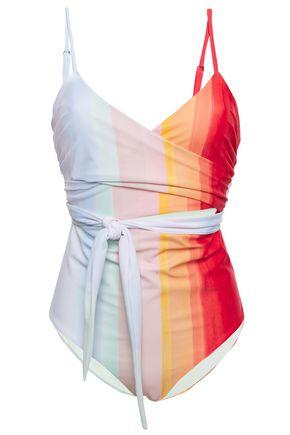 MARA HOFFMAN Cutout striped wrap swimsuit