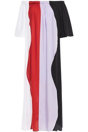 MARA HOFFMAN Off-the-shoulder color-block Tencel maxi dress