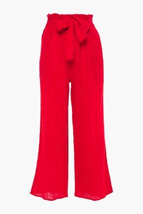 MARA HOFFMAN Bow-detailed cotton-gauze wide-leg pants