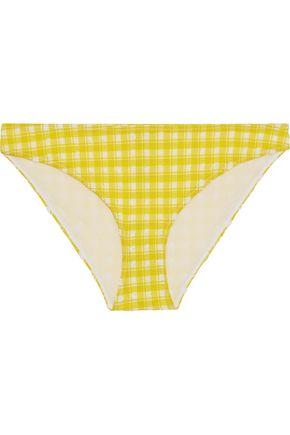 GANNI Mahogany checked stretch-seersucker bikini briefs