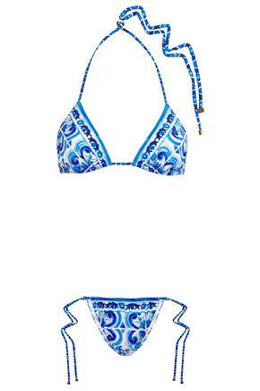 DOLCE & GABBANA BEACHWEAR Printed triangle bikini