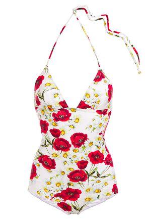 DOLCE & GABBANA BEACHWEAR Floral-print halterneck swimsuit