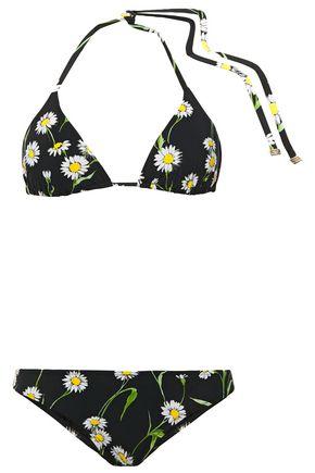 DOLCE & GABBANA BEACHWEAR Floral-print triangle bikini