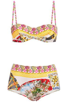 DOLCE & GABBANA BEACHWEAR Printed bandeau bikini