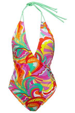 EMILIO PUCCI Wrap-effect printed halterneck swimsuit