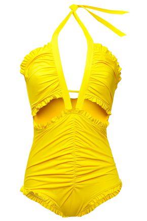 EMILIO PUCCI Cutout ruffle-trimmed halterneck swimsuit