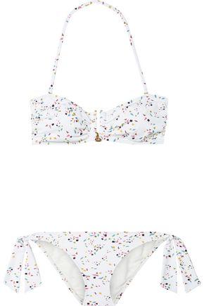 IRIS & INK Daphne ruched printed bandeau bikini