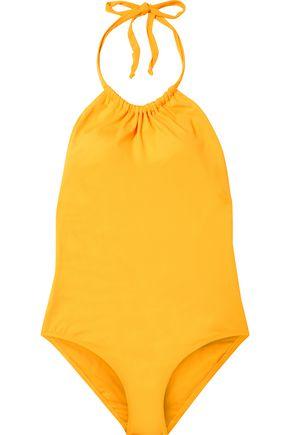 IRIS & INK Elm gathered halterneck swimsuit