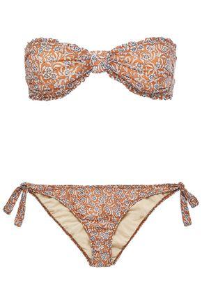 MAJE Tamille ruffle-trimmed floral-print bandeau bikini