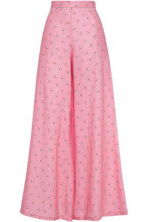 MIGUELINA Printed linen wid-leg pants