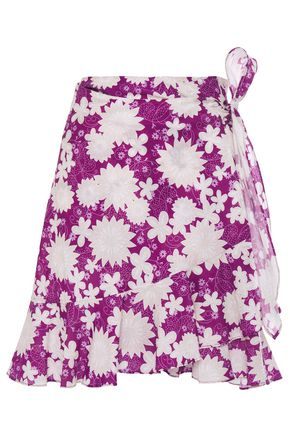 MIGUELINA Ruffle-trimmed floral-print cotton-mousseline mini wrap skirt