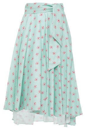 MIGUELINA Asymmetric belted printed linen skirt