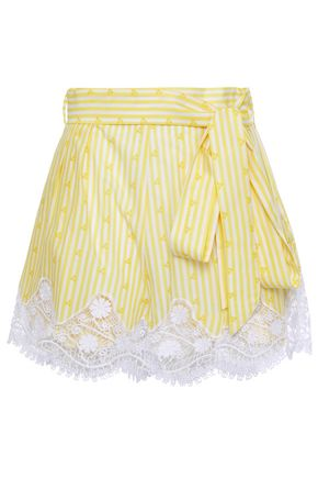 MIGUELINA Belted guipure lace-trimmed printed cotton shorts