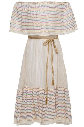 MIGUELINA Off-the-shoulder metallic striped cotton-blend gauze dress