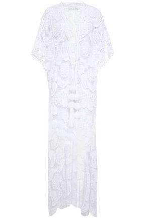MIGUELINA Pompom-embellished cotton macramé cover-up