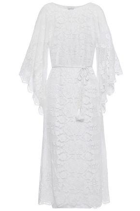 MIGUELINA فستان متوسط الطول من الدانتيل القطني المخرّم مزين بشراريب