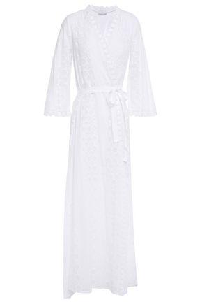 MIGUELINA Belted macramé-paneled cotton-gauze cover-up