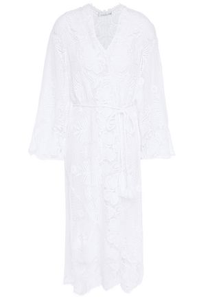 MIGUELINA Belted cotton macramé cover-up