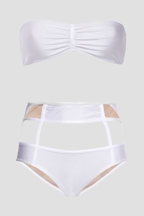 ADRIANA DEGREAS Cutout gathered tulle-paneled bandeau bikini