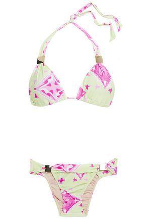 ADRIANA DEGREAS Embellished printed triangle bikini