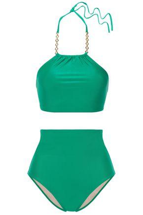 ADRIANA DEGREAS Chain-trimmed halterneck bikini