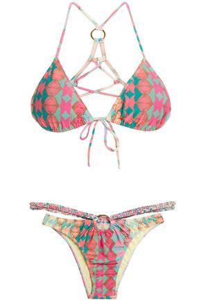 ADRIANA DEGREAS Braid-trimmed printed triangle bikini