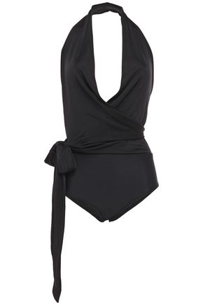 ADRIANA DEGREAS Cutout wrap-effect halterneck bikini