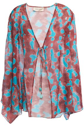 ADRIANA DEGREAS Embellished printed cotton and silk-blend coverup