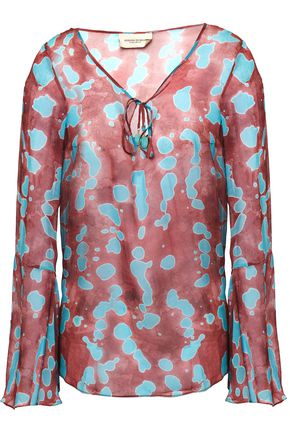 ADRIANA DEGREAS Embellished printed silk-chiffon top