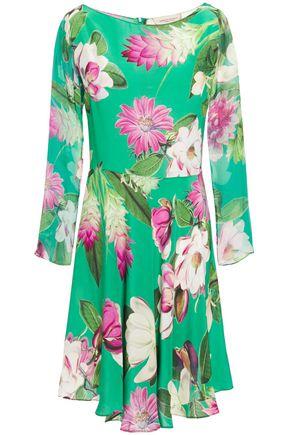 ADRIANA DEGREAS Asymmetric floral-print silk crepe de chine dress