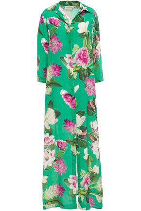 ADRIANA DEGREAS Floral-print silk crepe de chine maxi shirt dress