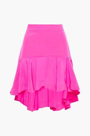 ADRIANA DEGREAS Asymmetric silk crepe de chine mini skirt