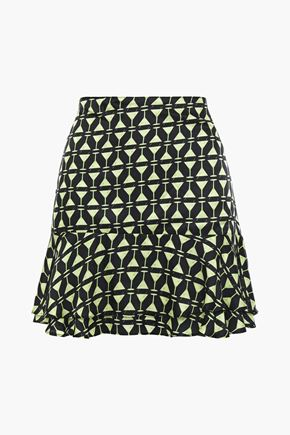 ADRIANA DEGREAS Layered printed satin mini skirt