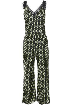 ADRIANA DEGREAS Guipure lace-trimmed printed satin jumpsuit