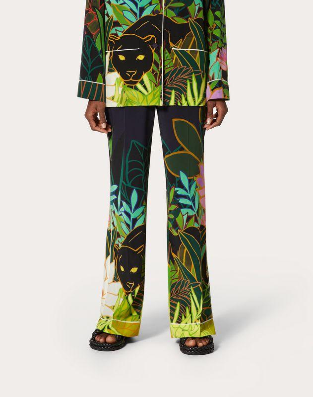 Printed Crepe de Chine Pajama Pants
