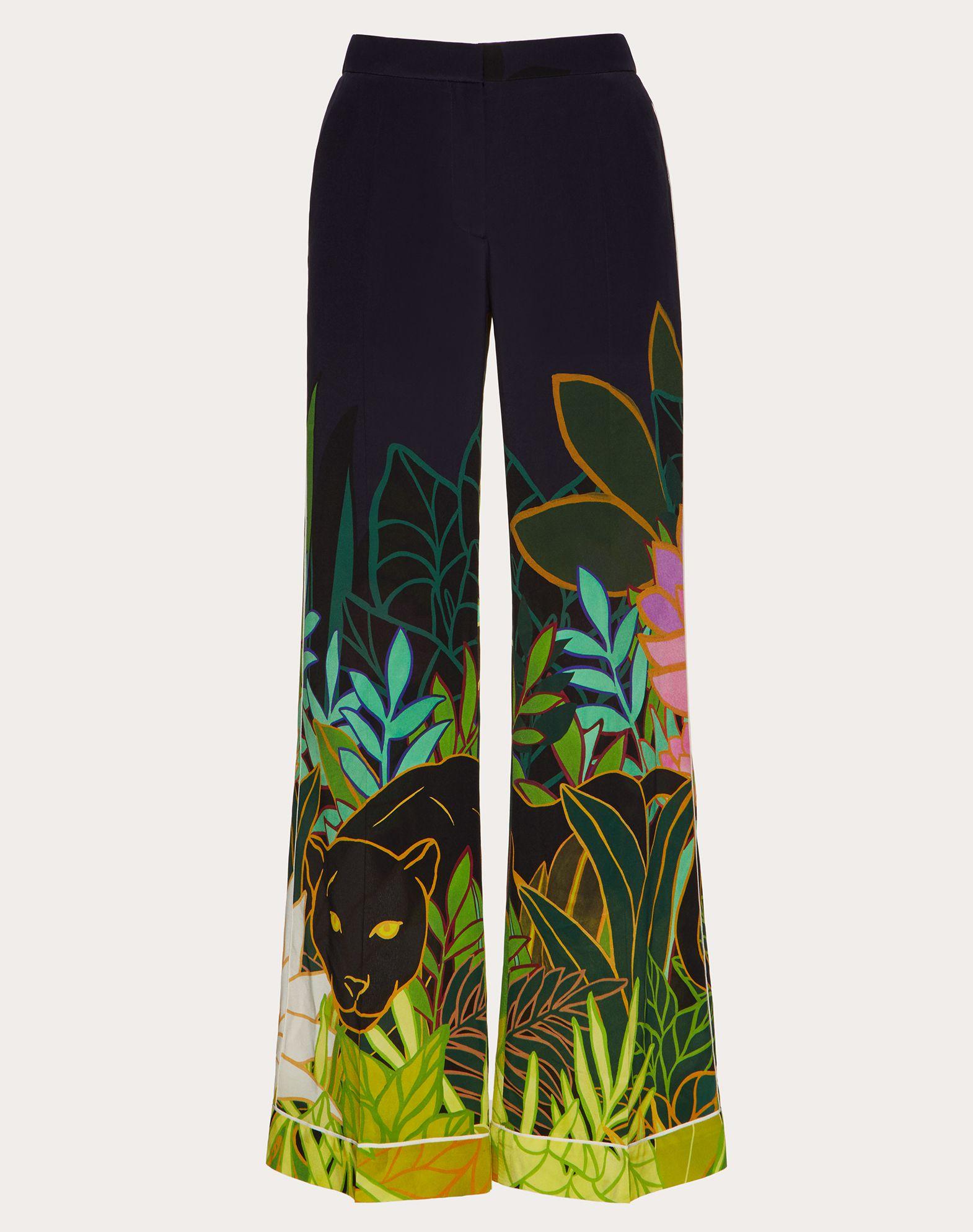 Пижамные брюки из крепдешина с принтом