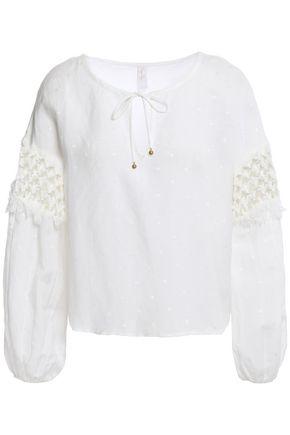 TIGERLILY Crochet-trimmed jacquard top
