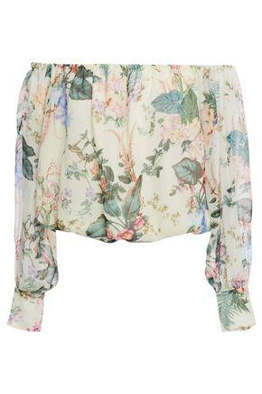 TIGERLILY Off-the-shoulder floral-print crinkled silk-gauze top
