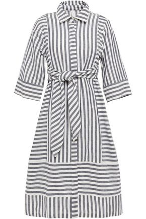 TIGERLILY Belted striped linen and cotton-blend dress